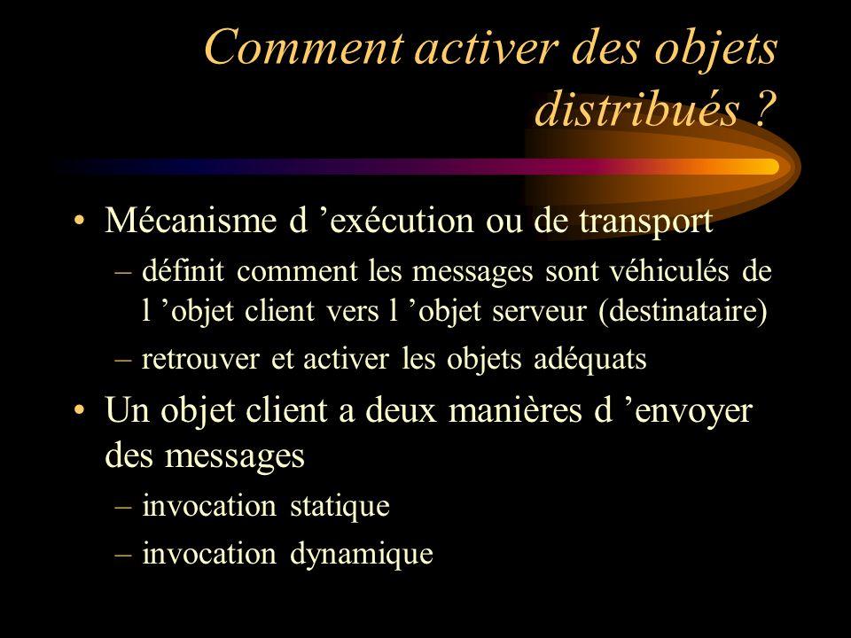 Comment activer des objets distribués ? Mécanisme d exécution ou de transport –définit comment les messages sont véhiculés de l objet client vers l ob
