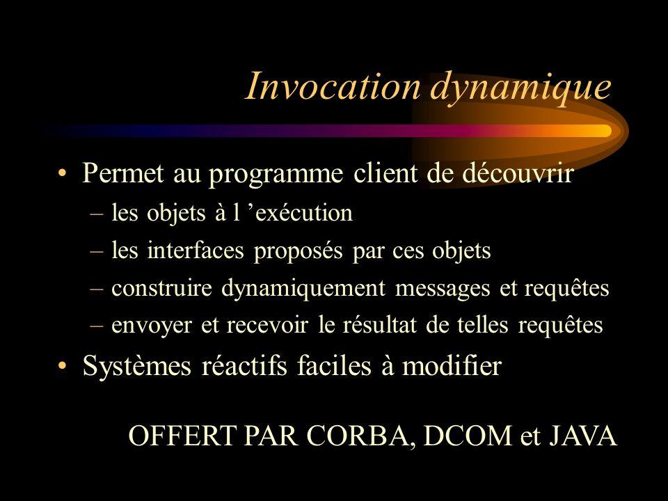 Invocation dynamique Permet au programme client de découvrir –les objets à l exécution –les interfaces proposés par ces objets –construire dynamiqueme