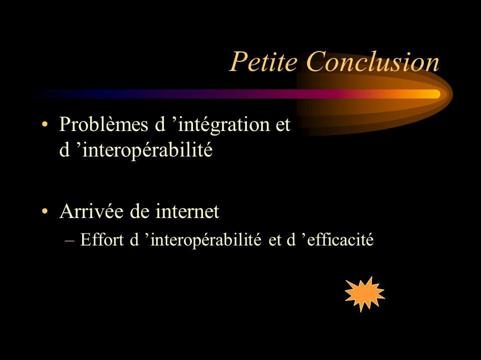 Petite Conclusion Problèmes d intégration et d interopérabilité Arrivée de internet –Effort d interopérabilité et d efficacité
