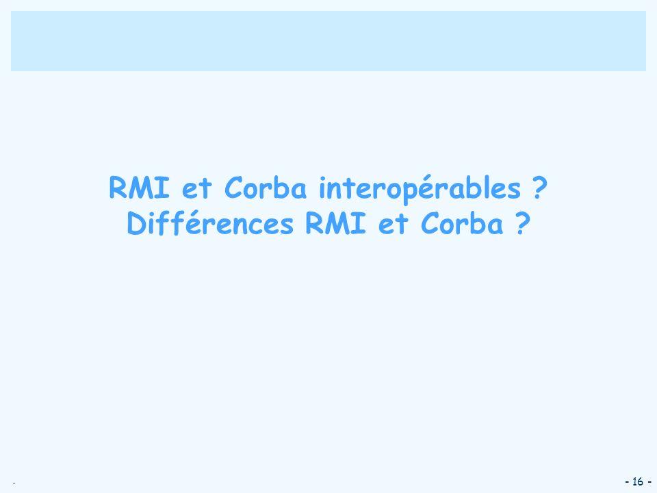. - 16 - RMI et Corba interopérables ? Différences RMI et Corba ?