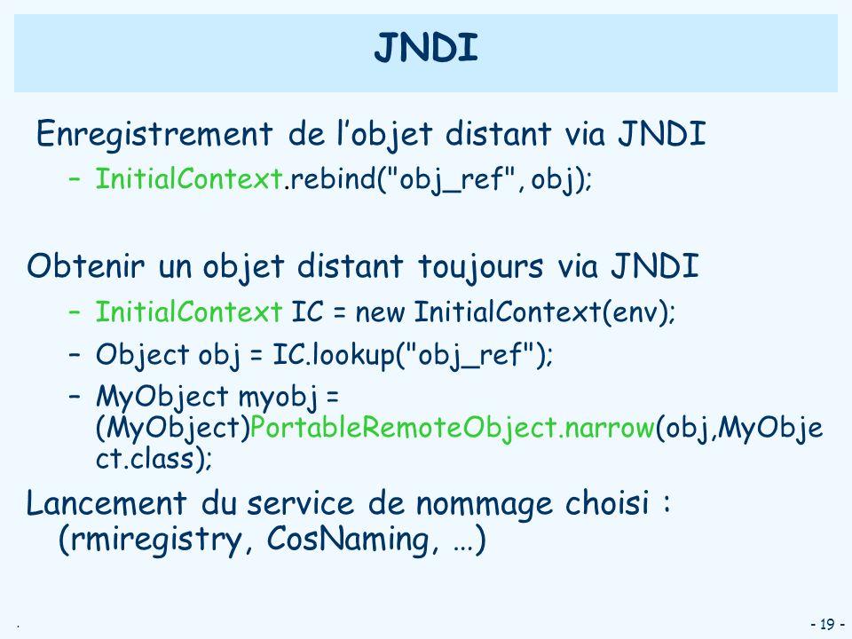 . - 19 - JNDI Enregistrement de lobjet distant via JNDI –InitialContext.rebind(