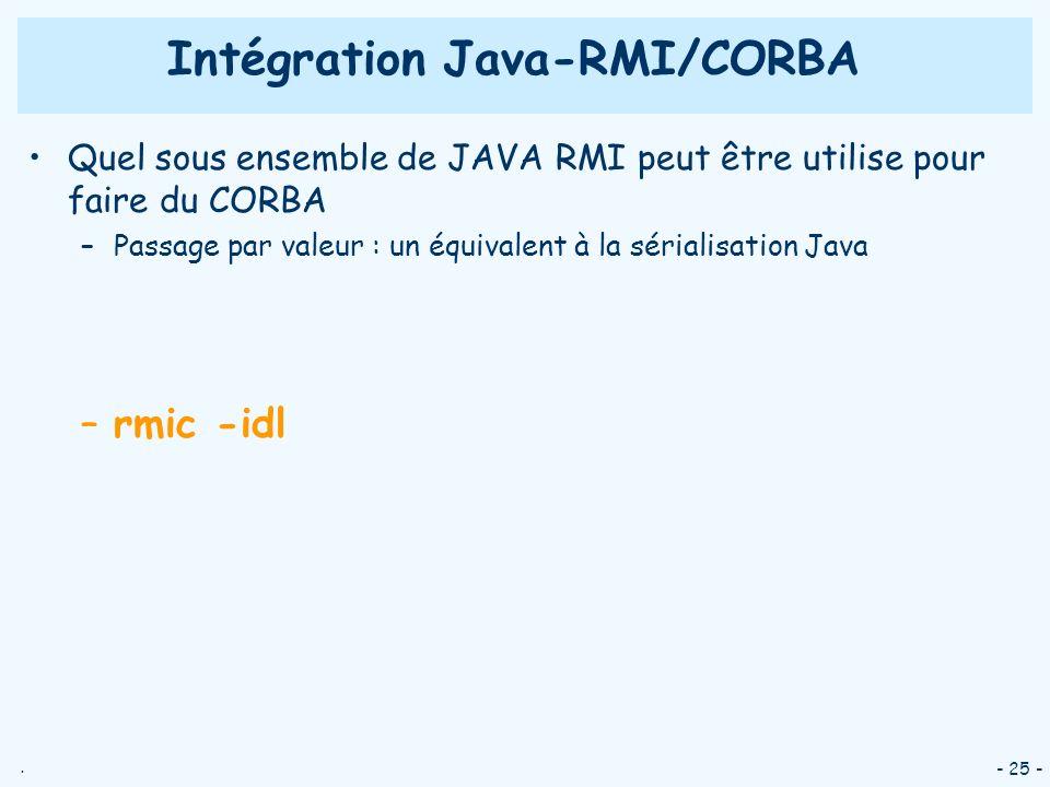 . - 25 - Quel sous ensemble de JAVA RMI peut être utilise pour faire du CORBA –Passage par valeur : un équivalent à la sérialisation Java –rmic -idl I