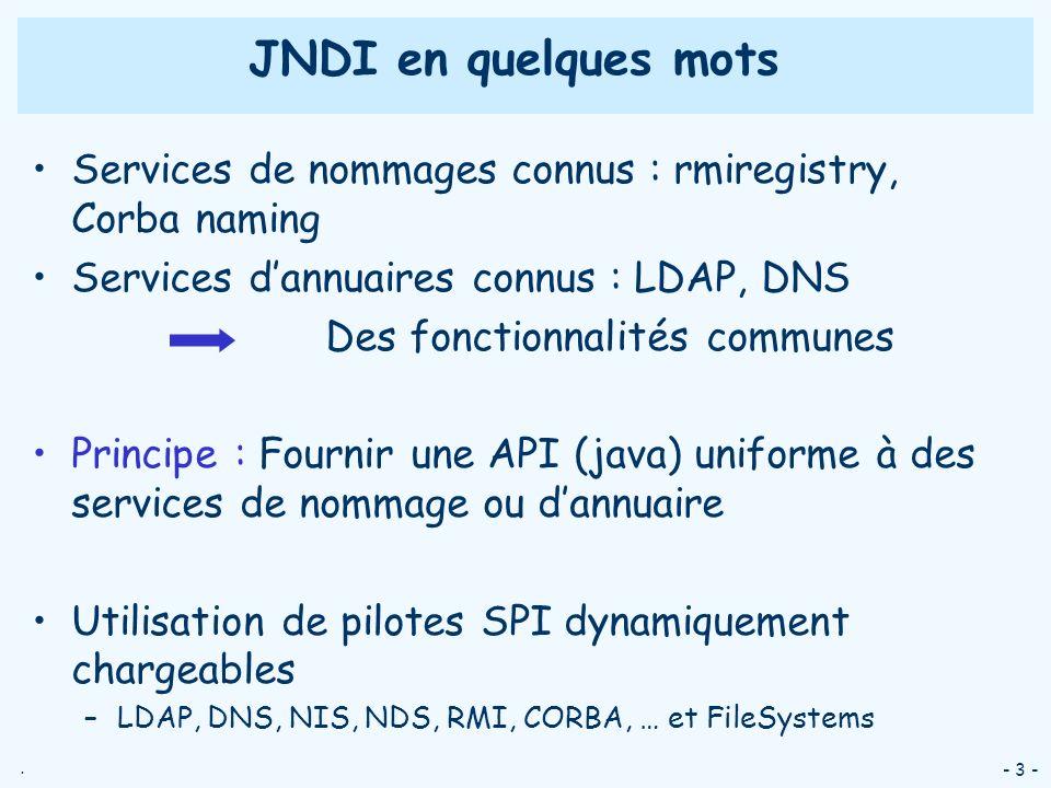 . - 3 - JNDI en quelques mots Services de nommages connus : rmiregistry, Corba naming Services dannuaires connus : LDAP, DNS Des fonctionnalités commu