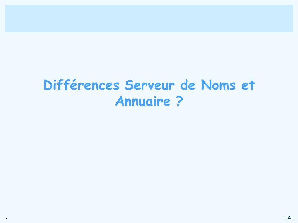 . - 4 - Différences Serveur de Noms et Annuaire ?