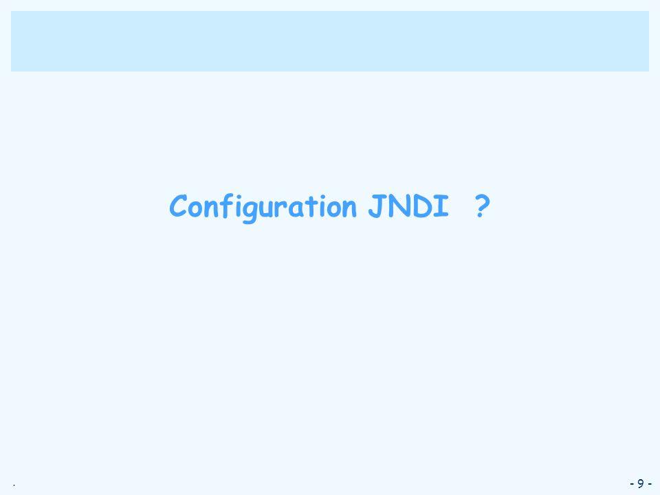 . - 10 - Configuration de JNDI : ContextFactory & Provider Deux façons de configurer ces propriétés : –Paramétrer le contexte initial : Hashtable env = new Hashtable(); env.put( java.naming.factory.initial ,...); env.put( java.naming.provider.url ,...); javax.naming.Context ct = new InitialContext(env); –Passer en paramètre de ligne de commande de Java : java -Djava.naming.factory.initial=value -Djava.naming.provider.url=value Server