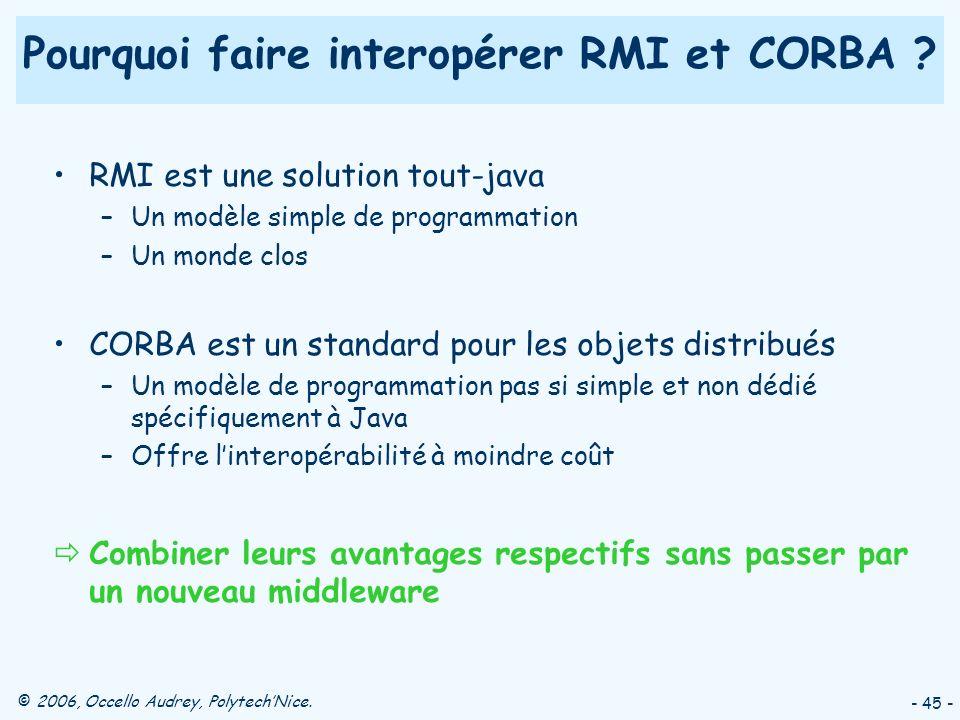© 2006, Occello Audrey, PolytechNice. - 45 - Pourquoi faire interopérer RMI et CORBA .