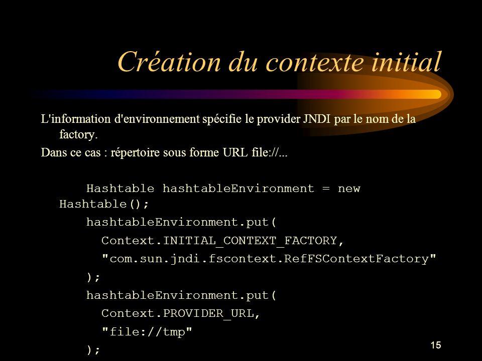 15 Création du contexte initial L'information d'environnement spécifie le provider JNDI par le nom de la factory. Dans ce cas : répertoire sous forme