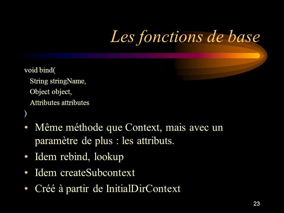 23 Les fonctions de base void bind( String stringName, Object object, Attributes attributes ) Même méthode que Context, mais avec un paramètre de plus