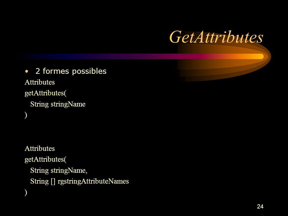 24 GetAttributes 2 formes possibles Attributes getAttributes( String stringName ) Attributes getAttributes( String stringName, String [] rgstringAttri