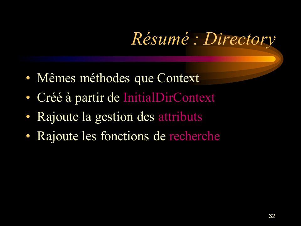 32 Résumé : Directory Mêmes méthodes que Context Créé à partir de InitialDirContext Rajoute la gestion des attributs Rajoute les fonctions de recherch