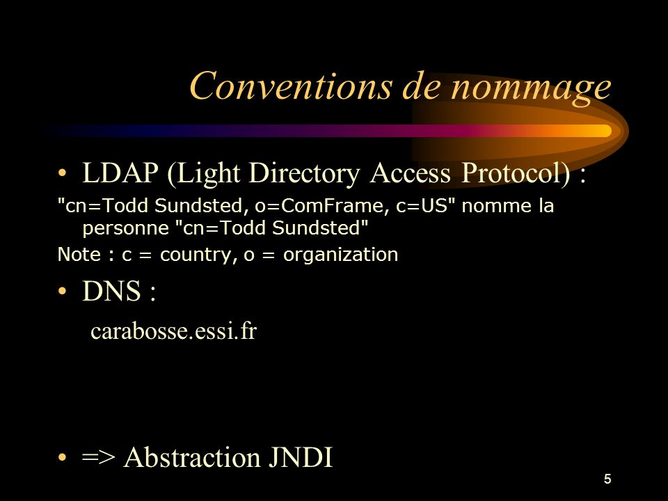 5 Conventions de nommage LDAP (Light Directory Access Protocol) :