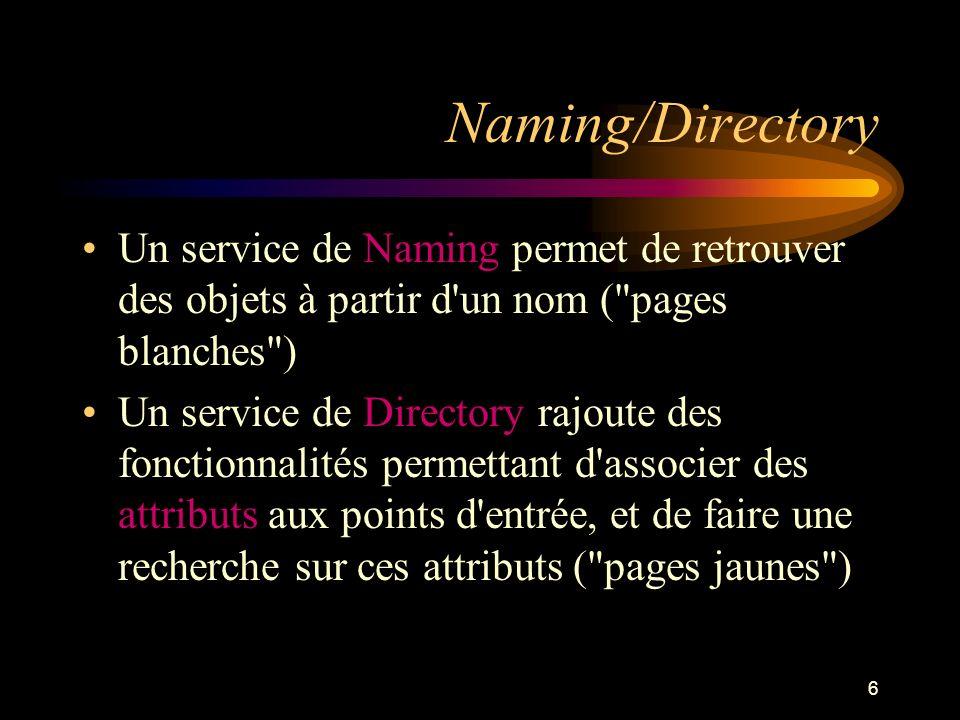 27 Search : pour faire des requêtes NamingEnumeration search( String stringName, Attributes attributesToMatch ) On peut utiliser des filtres de recherche selon la spécification RFC 2254: (cn=Babs Jensen) (!(cn=Tim Howes)) (&(objectClass=Person)(|(sn=Jensen)(cn=Babs J*))) (o=univ*of*mich*) NamingEnumeration search(Name stringName, String stringRFC2254Filter, SearchControls searchcontrols)