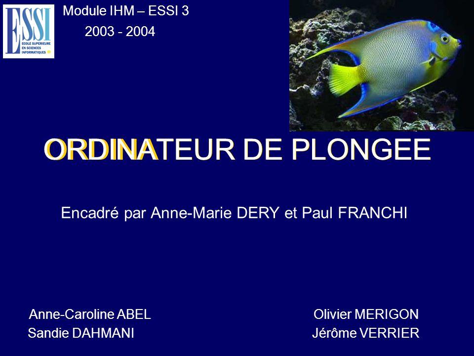ORDINATEUR DE PLONGEE Encadré par Anne-Marie DERY et Paul FRANCHI Module IHM – ESSI 3 2003 - 2004 Anne-Caroline ABEL Olivier MERIGON Sandie DAHMANIJér