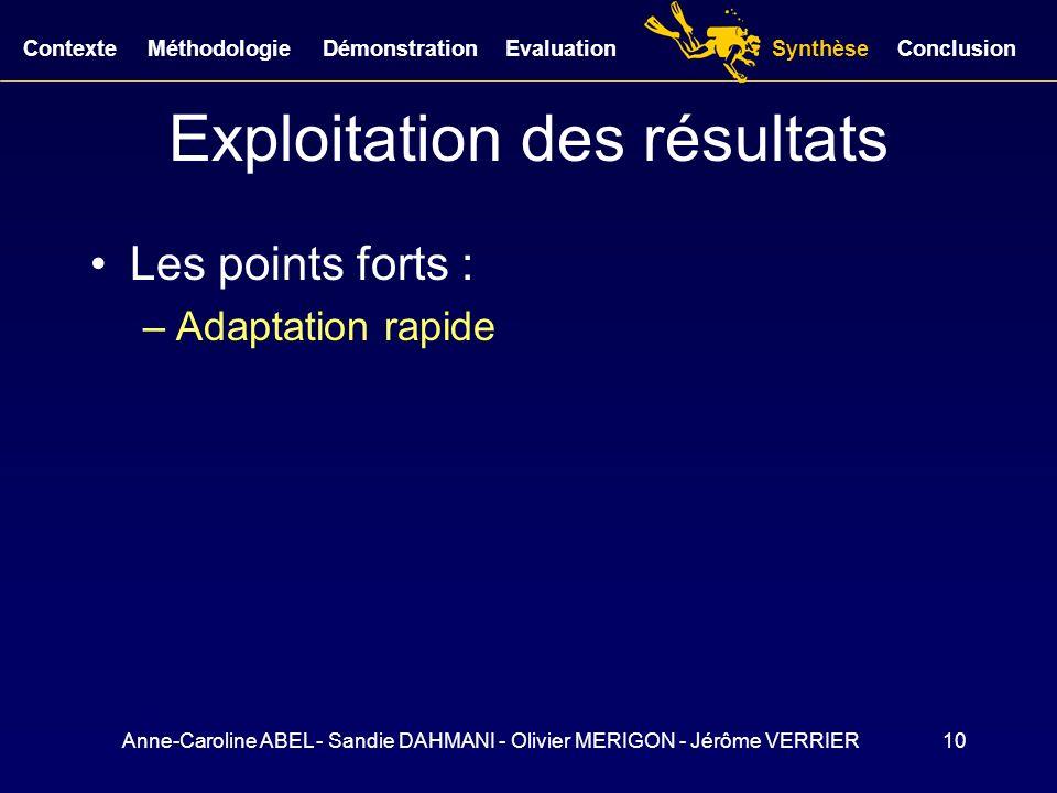 Anne-Caroline ABEL - Sandie DAHMANI - Olivier MERIGON - Jérôme VERRIER10 Exploitation des résultats Les points forts : –Adaptation rapide ConclusionCo