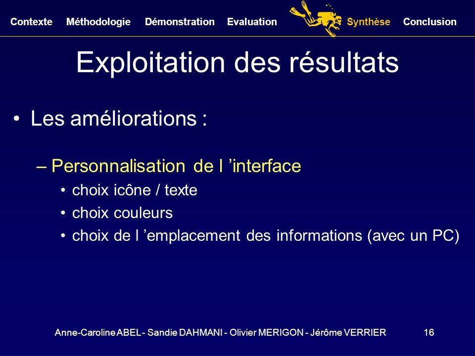Anne-Caroline ABEL - Sandie DAHMANI - Olivier MERIGON - Jérôme VERRIER16 Exploitation des résultats Les améliorations : –Personnalisation de l interfa