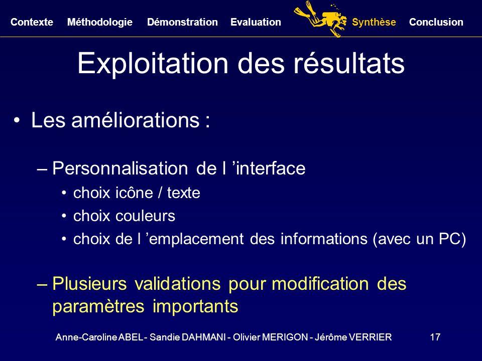 Anne-Caroline ABEL - Sandie DAHMANI - Olivier MERIGON - Jérôme VERRIER17 Exploitation des résultats Les améliorations : –Personnalisation de l interfa