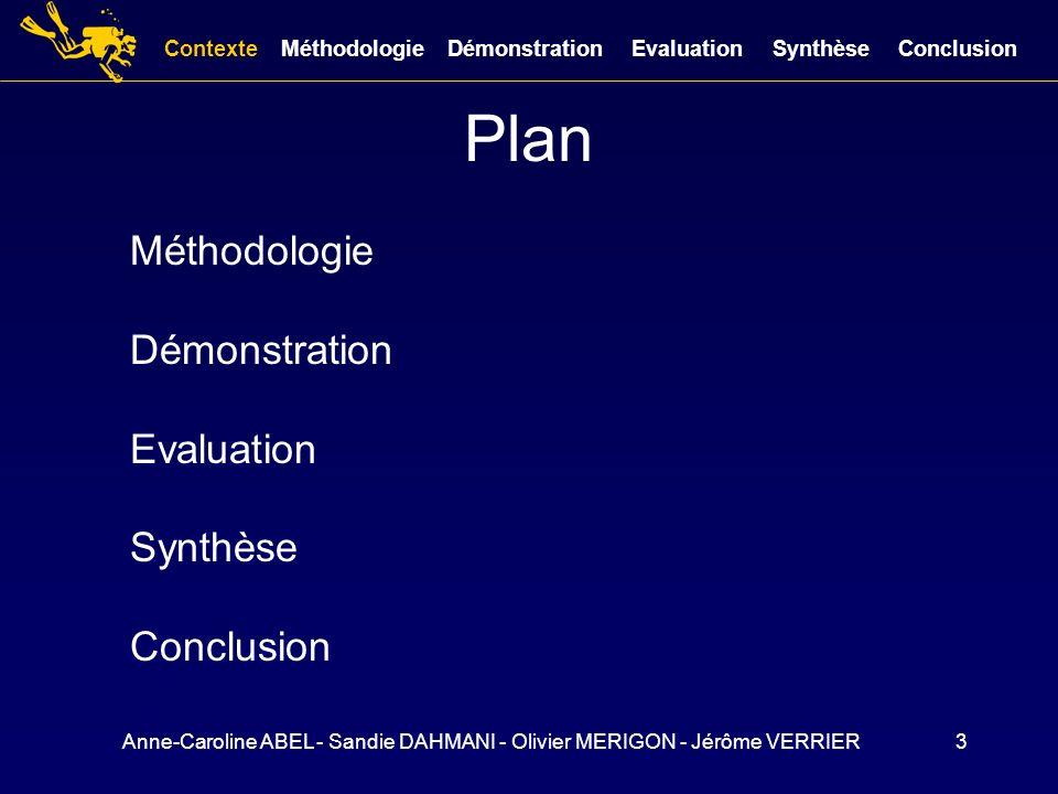 Anne-Caroline ABEL - Sandie DAHMANI - Olivier MERIGON - Jérôme VERRIER3 Plan Méthodologie Démonstration Evaluation Synthèse Conclusion ContexteMéthodo