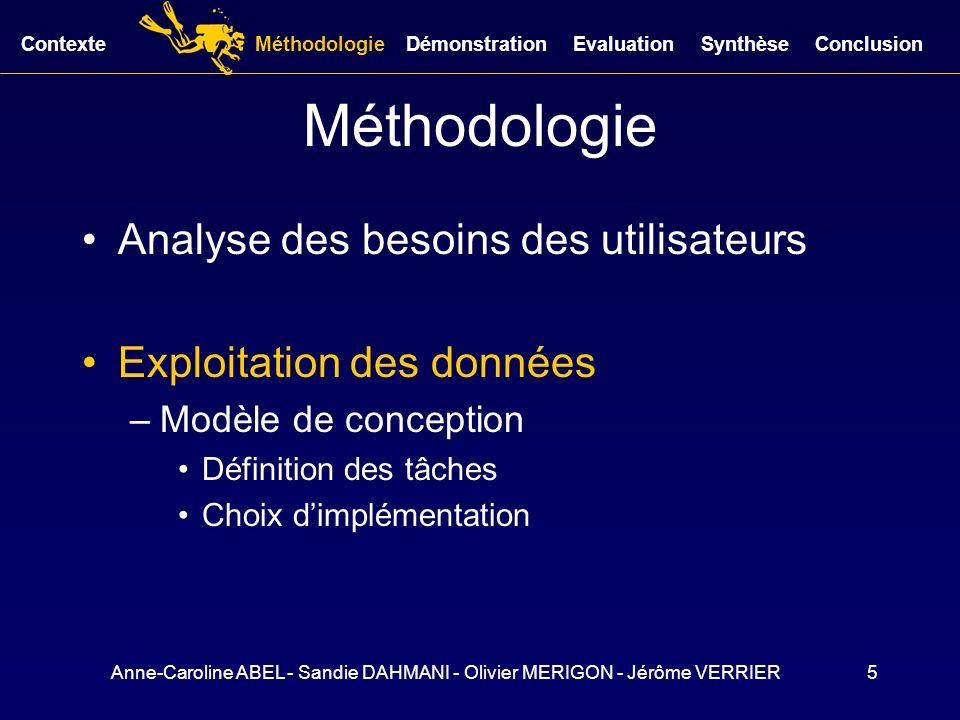 Anne-Caroline ABEL - Sandie DAHMANI - Olivier MERIGON - Jérôme VERRIER5 Méthodologie Analyse des besoins des utilisateurs Exploitation des données –Mo
