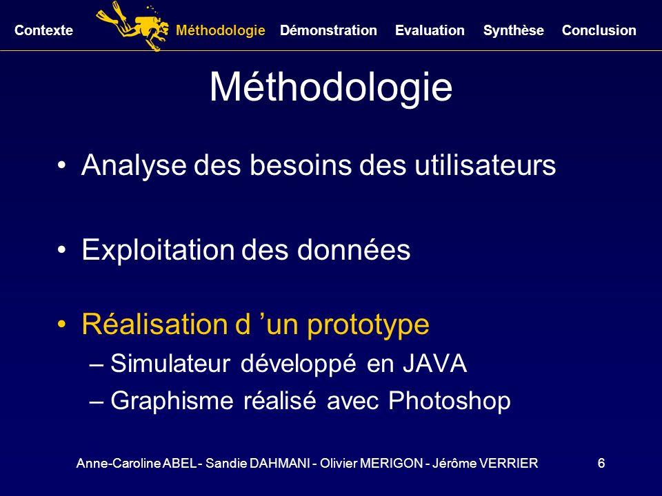Anne-Caroline ABEL - Sandie DAHMANI - Olivier MERIGON - Jérôme VERRIER6 Méthodologie Analyse des besoins des utilisateurs Exploitation des données Réa