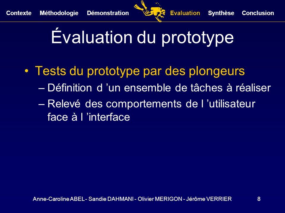 Anne-Caroline ABEL - Sandie DAHMANI - Olivier MERIGON - Jérôme VERRIER8 Évaluation du prototype Tests du prototype par des plongeurs –Définition d un