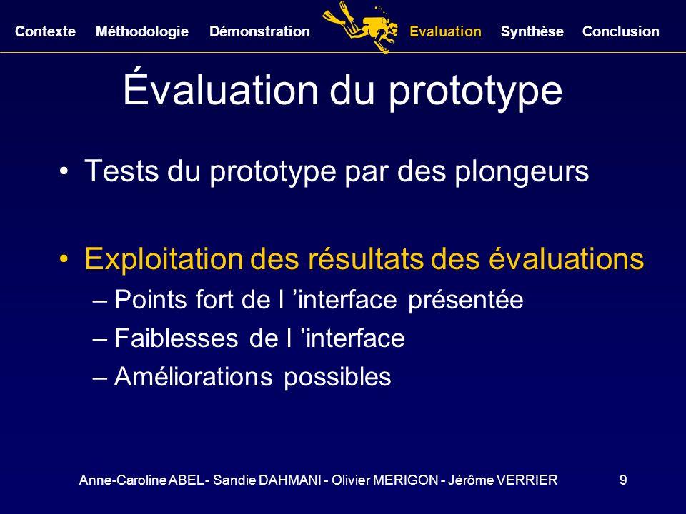 Anne-Caroline ABEL - Sandie DAHMANI - Olivier MERIGON - Jérôme VERRIER9 Évaluation du prototype Tests du prototype par des plongeurs Exploitation des