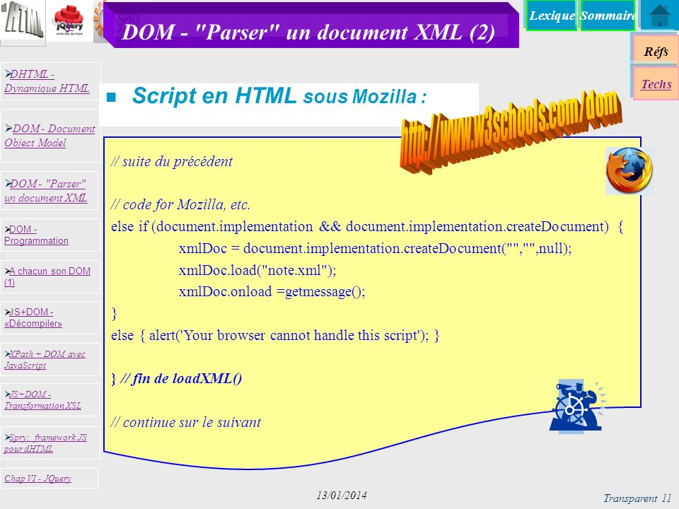 Lexique Réfs Techs DHTML - Dynamique HTML DHTML - Dynamique HTML DOM - Document Object Model DOM - Document Object Model JS+DOM - «Décompiler» JS+DOM