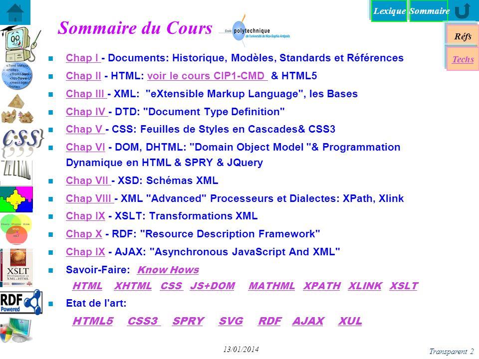Lexique Réfs Techs DHTML - Dynamique HTML DHTML - Dynamique HTML DOM - Document Object Model DOM - Document Object Model JS+DOM - «Décompiler» JS+DOM - «Décompiler» XPath + DOM avec JavaScript XPath + DOM avec JavaScript DOM - Programmation DOM - Programmation A chacun son DOM (1) A chacun son DOM (1) JS+DOM - Transformation XSL JS+DOM - Transformation XSL Chap VI - JQuery DOM - Parser un document XML DOM - Parser un document XML Spry: framework JS pour dHTML Spry: framework JS pour dHTML yy Sommaire Transparent 33 13/01/2014 Spry: Démos