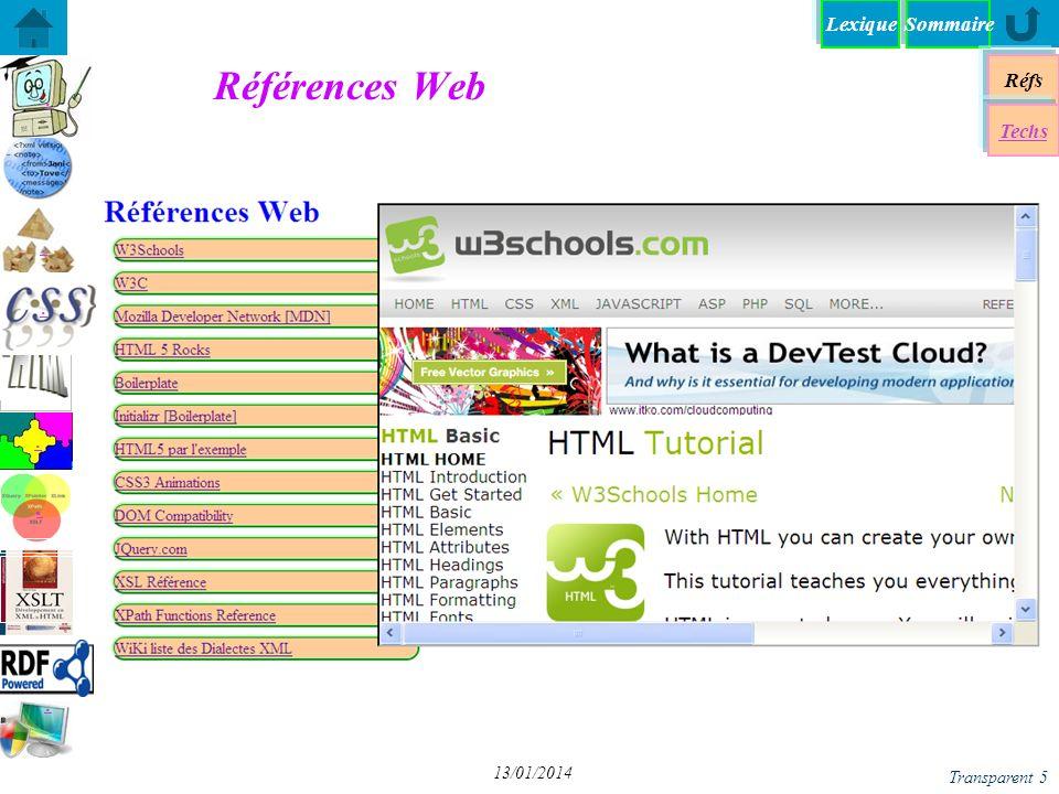 SommaireLexique Réfs Techs...... Transparent 5 13/01/2014 Références Web