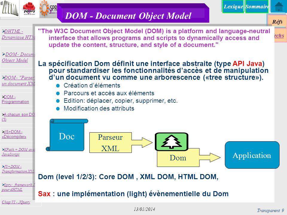 Lexique Réfs Techs DHTML - Dynamique HTML DHTML - Dynamique HTML DOM - Document Object Model DOM - Document Object Model JS+DOM - «Décompiler» JS+DOM - «Décompiler» XPath + DOM avec JavaScript XPath + DOM avec JavaScript DOM - Programmation DOM - Programmation A chacun son DOM (1) A chacun son DOM (1) JS+DOM - Transformation XSL JS+DOM - Transformation XSL Chap VI - JQuery DOM - Parser un document XML DOM - Parser un document XML Spry: framework JS pour dHTML Spry: framework JS pour dHTML yy Sommaire Transparent 30 13/01/2014 Spry - Génération de XML DATA SETs var dsBib = new Spry.Data.XMLDataSet( bib.xml , Bib/Article ); dsBib.setColumnType( Date , date ); Titre Date ref {Title} {Date} {@ref} mis à plat flatening TitleDateEdit@ref