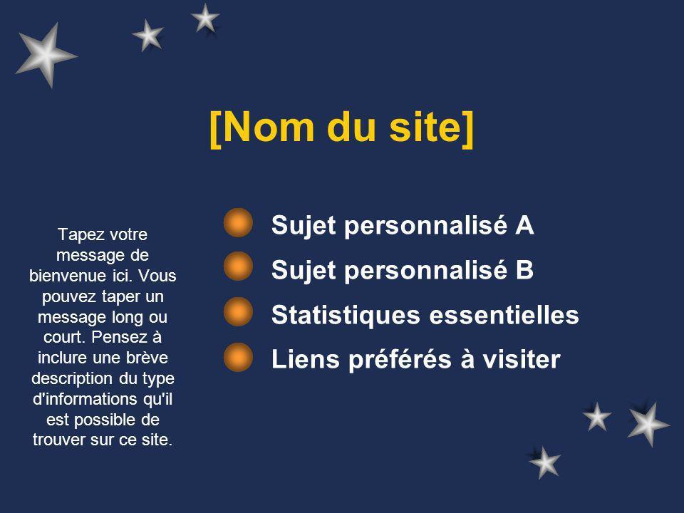 [Nom du site] Sujet personnalisé A Sujet personnalisé B Statistiques essentielles Liens préférés à visiter Tapez votre message de bienvenue ici.