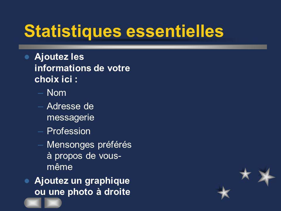 Statistiques essentielles Ajoutez les informations de votre choix ici : –Nom –Adresse de messagerie –Profession –Mensonges préférés à propos de vous- même Ajoutez un graphique ou une photo à droite