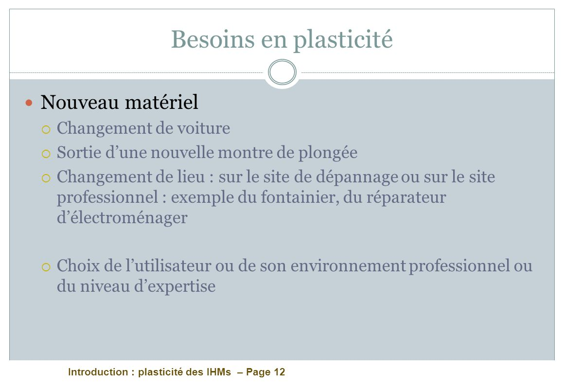 Introduction : plasticité des IHMs – Page 12 Besoins en plasticité Nouveau matériel Changement de voiture Sortie dune nouvelle montre de plongée Chang