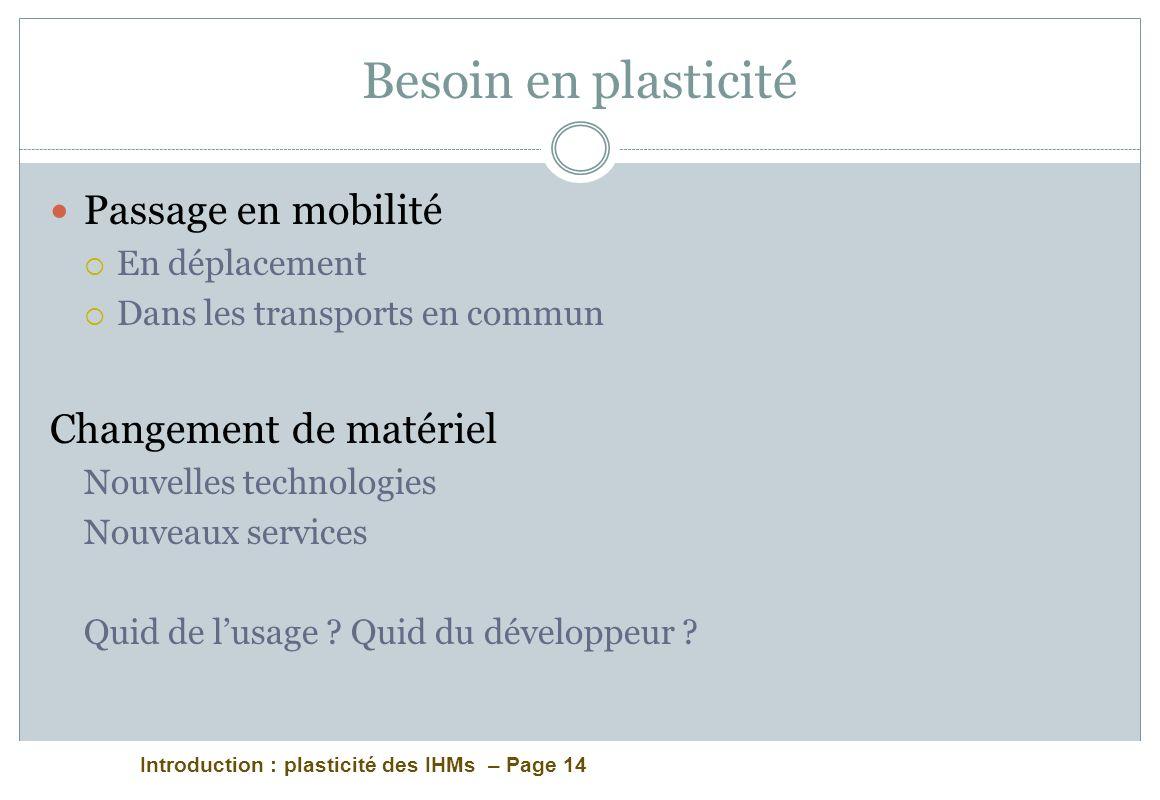 Introduction : plasticité des IHMs – Page 14 Besoin en plasticité Passage en mobilité En déplacement Dans les transports en commun Changement de matér