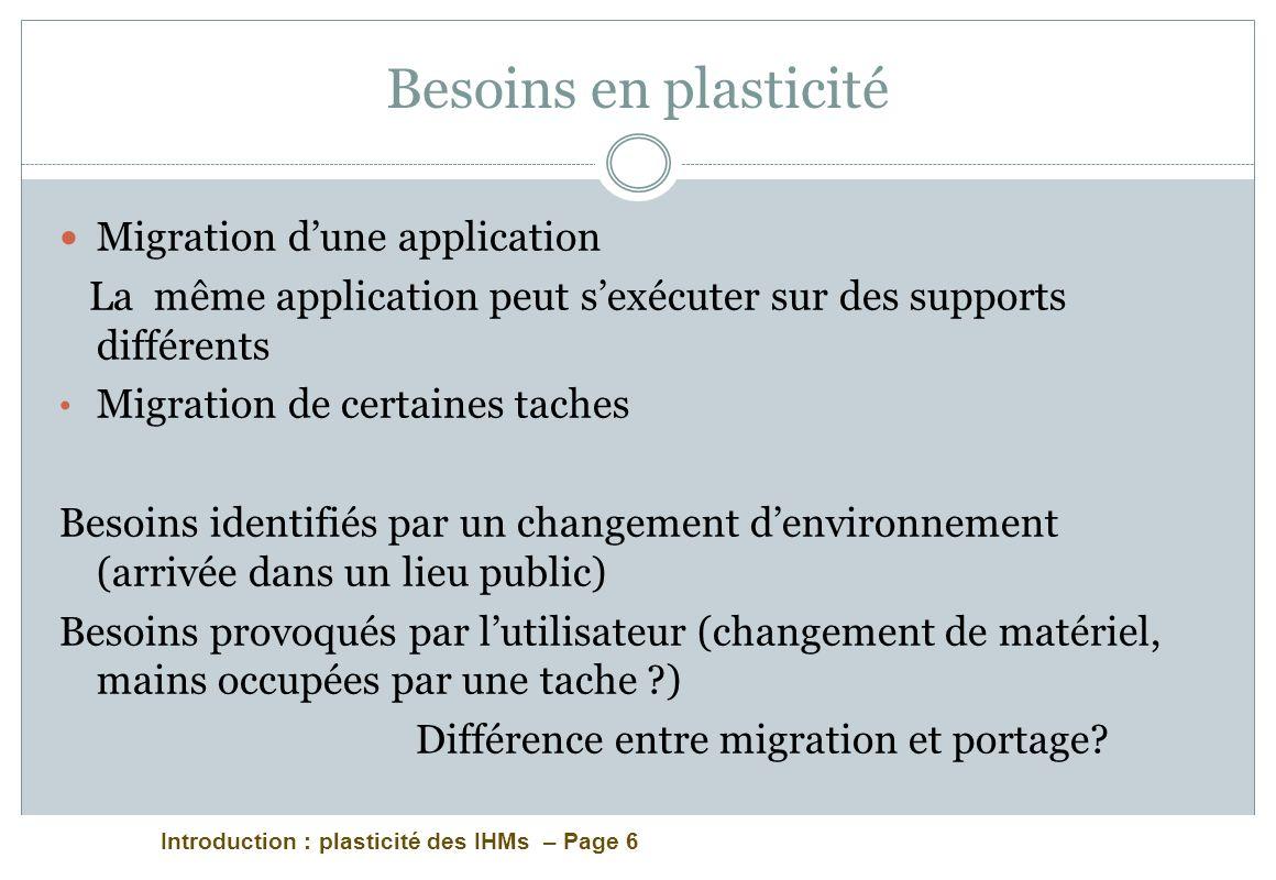 Introduction : plasticité des IHMs – Page 6 Besoins en plasticité Migration dune application La même application peut sexécuter sur des supports diffé