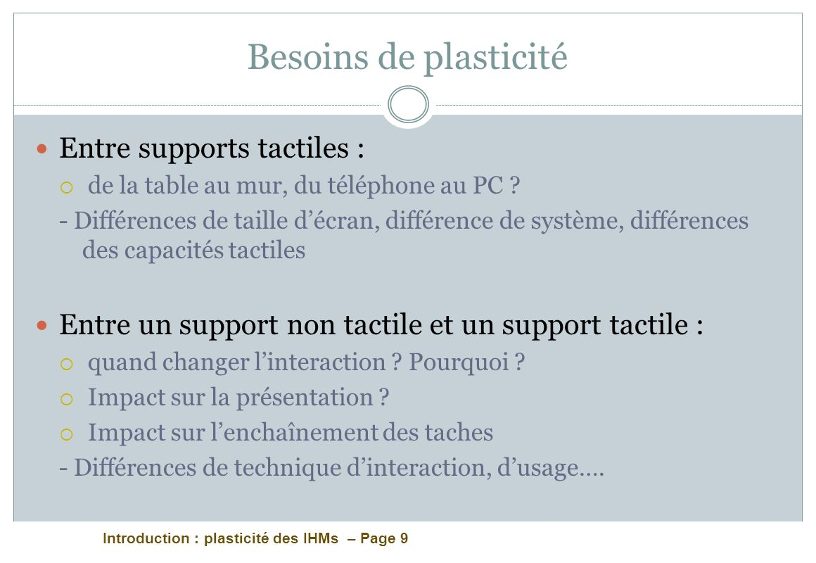 Introduction : plasticité des IHMs – Page 9 Besoins de plasticité Entre supports tactiles : de la table au mur, du téléphone au PC ? - Différences de