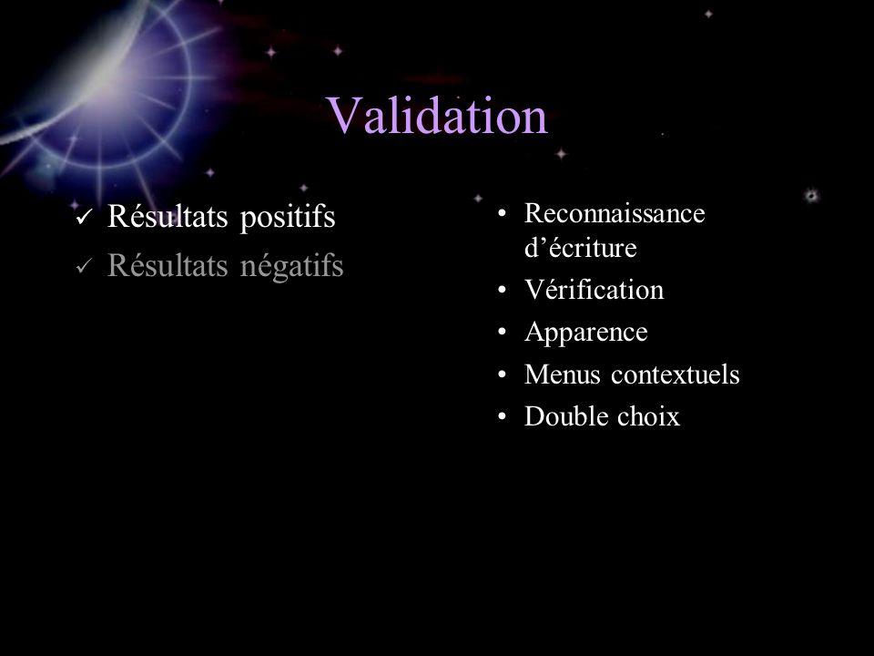 Validation Résultats positifs Résultats négatifs Reconnaissance décriture Vérification Apparence Menus contextuels Double choix