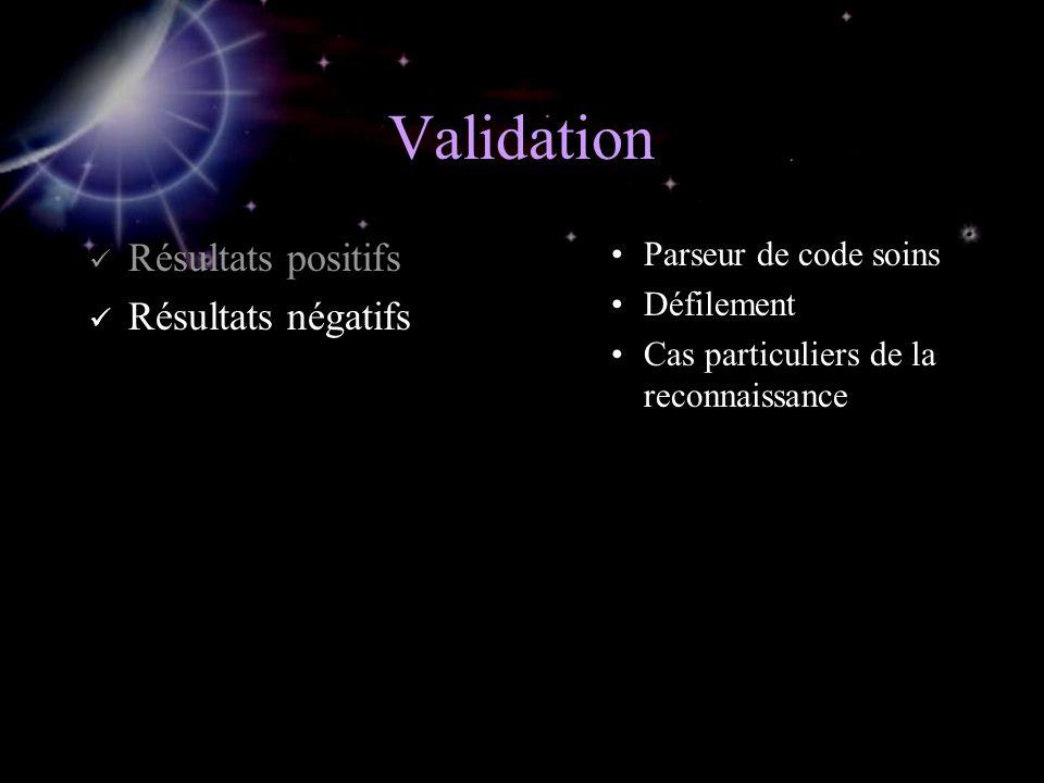Validation Résultats positifs Résultats négatifs Parseur de code soins Défilement Cas particuliers de la reconnaissance