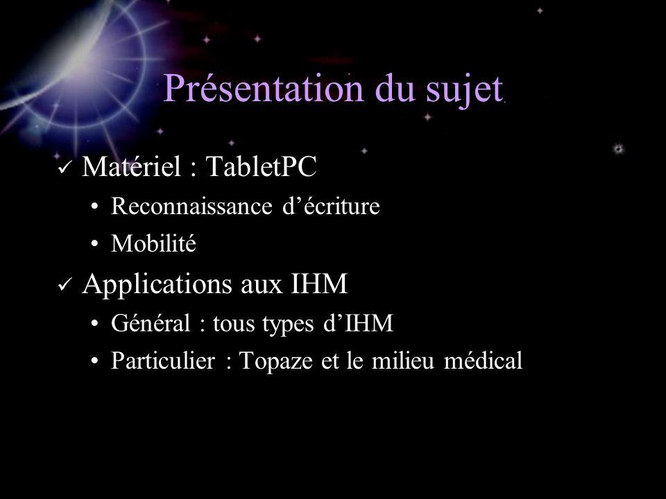 Présentation du sujet Matériel : TabletPC Reconnaissance décriture Mobilité Applications aux IHM Général : tous types dIHM Particulier : Topaze et le milieu médical