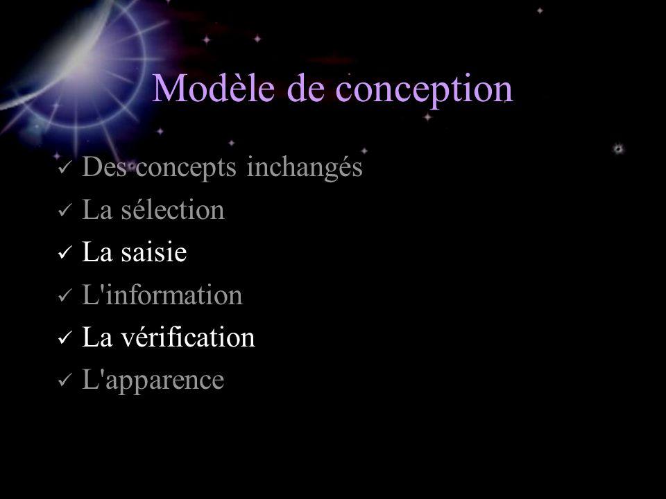 Modèle de conception Des concepts inchangés La sélection La saisie L information La vérification L apparence