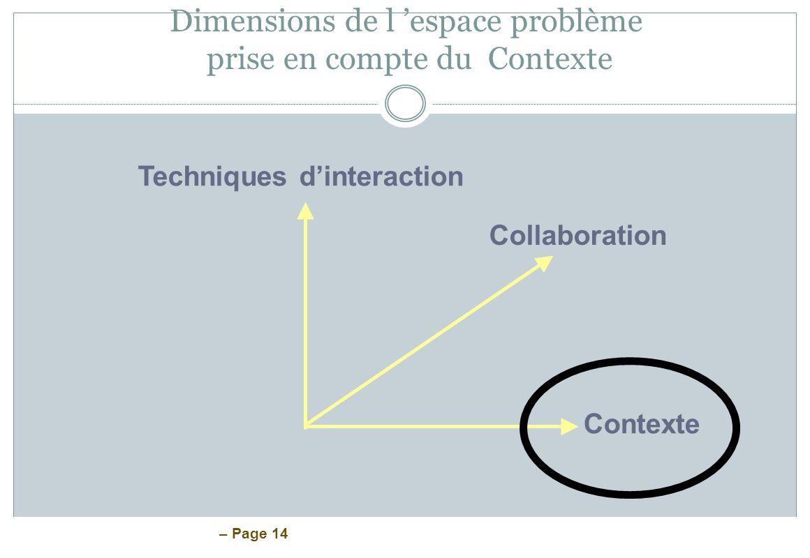 – Page 14 Dimensions de l espace problème prise en compte du Contexte Techniques dinteraction Collaboration Contexte