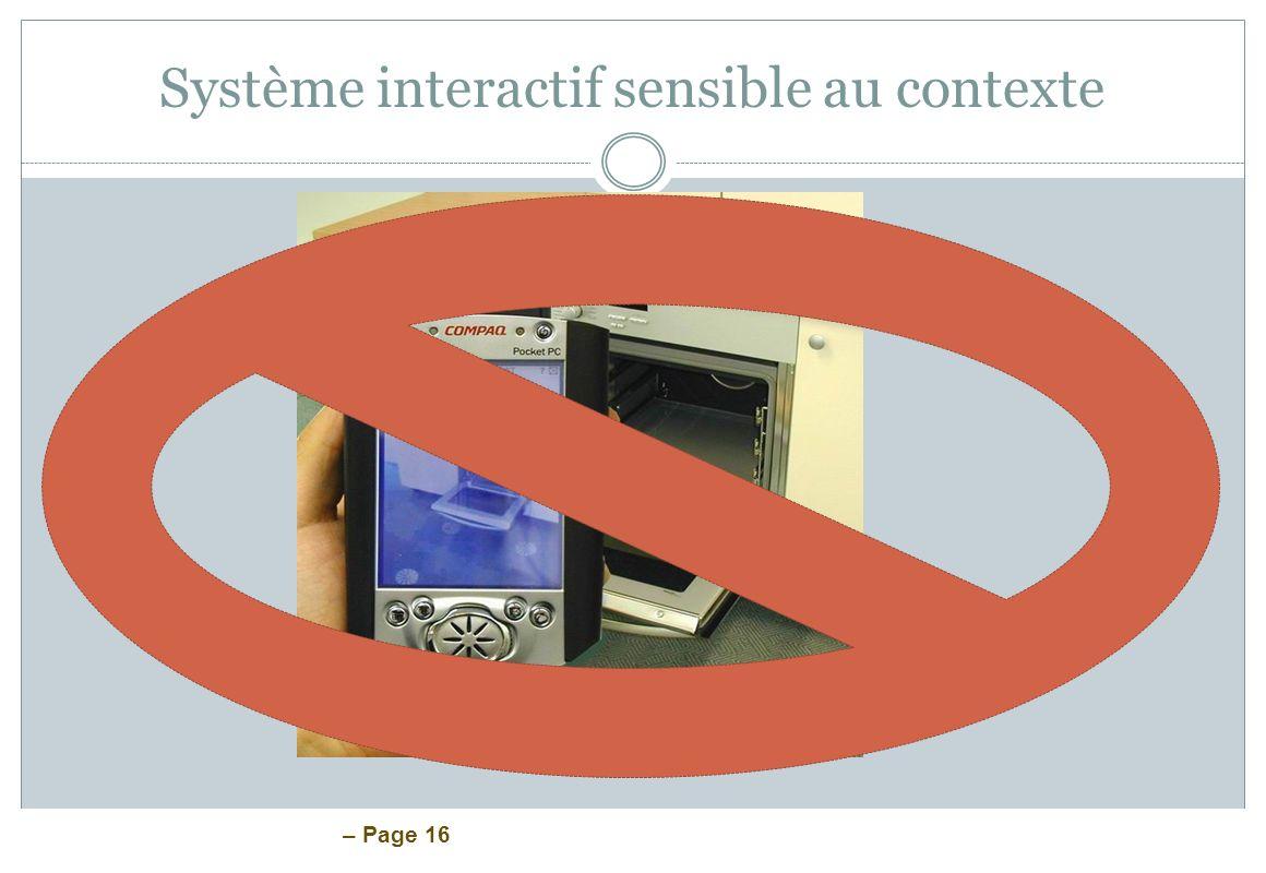 – Page 16 Système interactif sensible au contexte