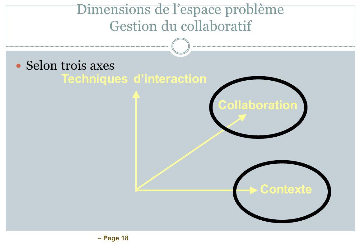 – Page 18 Dimensions de lespace problème Gestion du collaboratif Selon trois axes Techniques dinteraction Collaboration Contexte