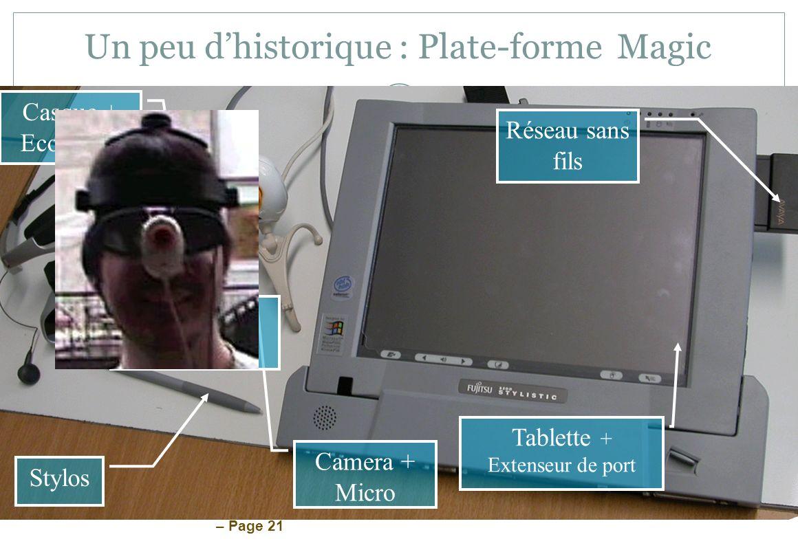 – Page 21 Un peu dhistorique : Plate-forme Magic Camera + Micro Casque + Ecouteurs Capteur dorientation Stylos Tablette + Extenseur de port Réseau san