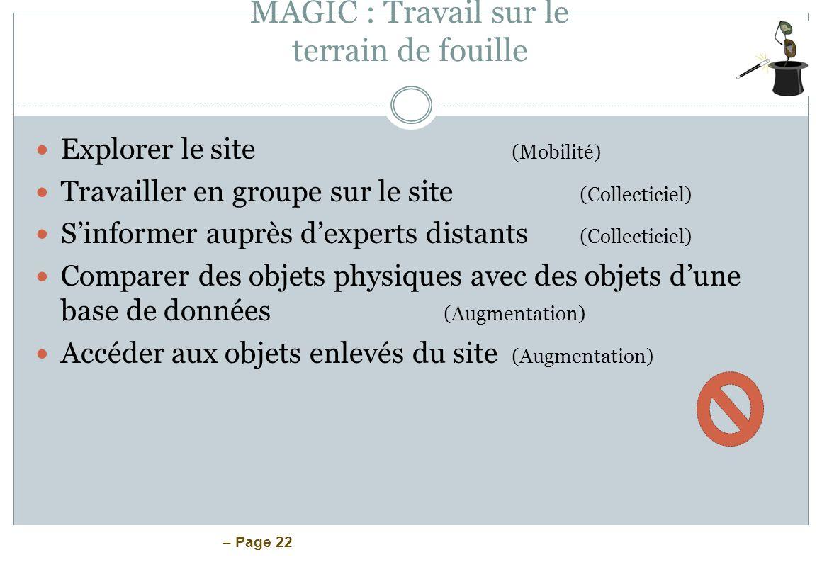 – Page 22 MAGIC : Travail sur le terrain de fouille Explorer le site (Mobilité) Travailler en groupe sur le site (Collecticiel) Sinformer auprès dexpe