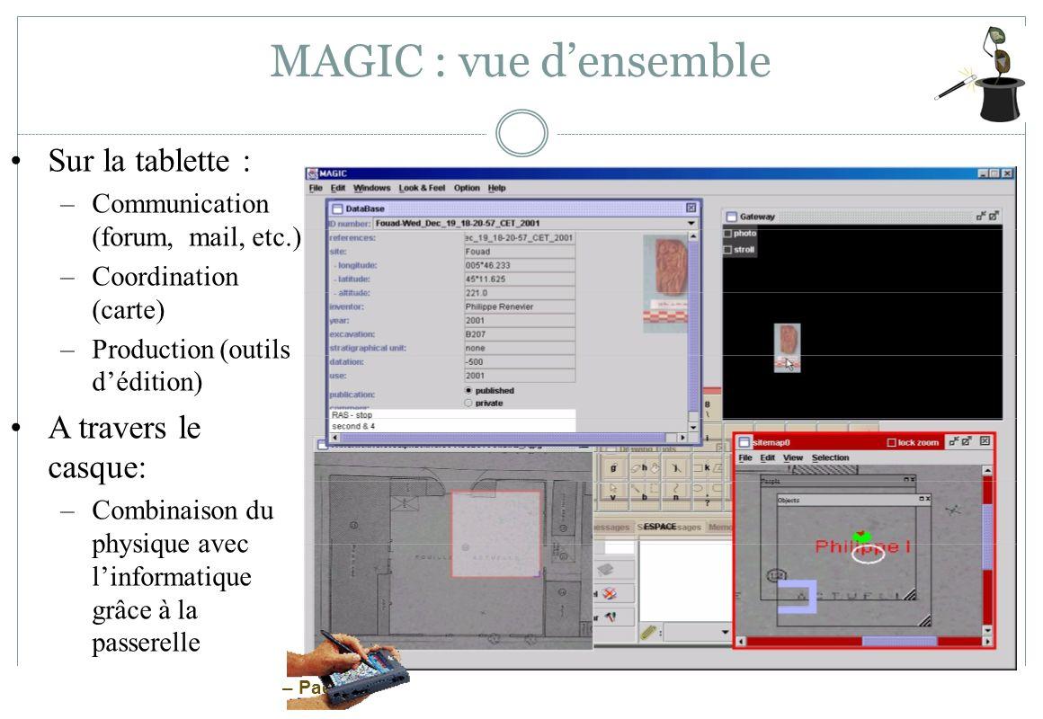 – Page 23 MAGIC : vue densemble Sur la tablette : –Communication (forum, mail, etc.) –Coordination (carte) –Production (outils dédition) A travers le
