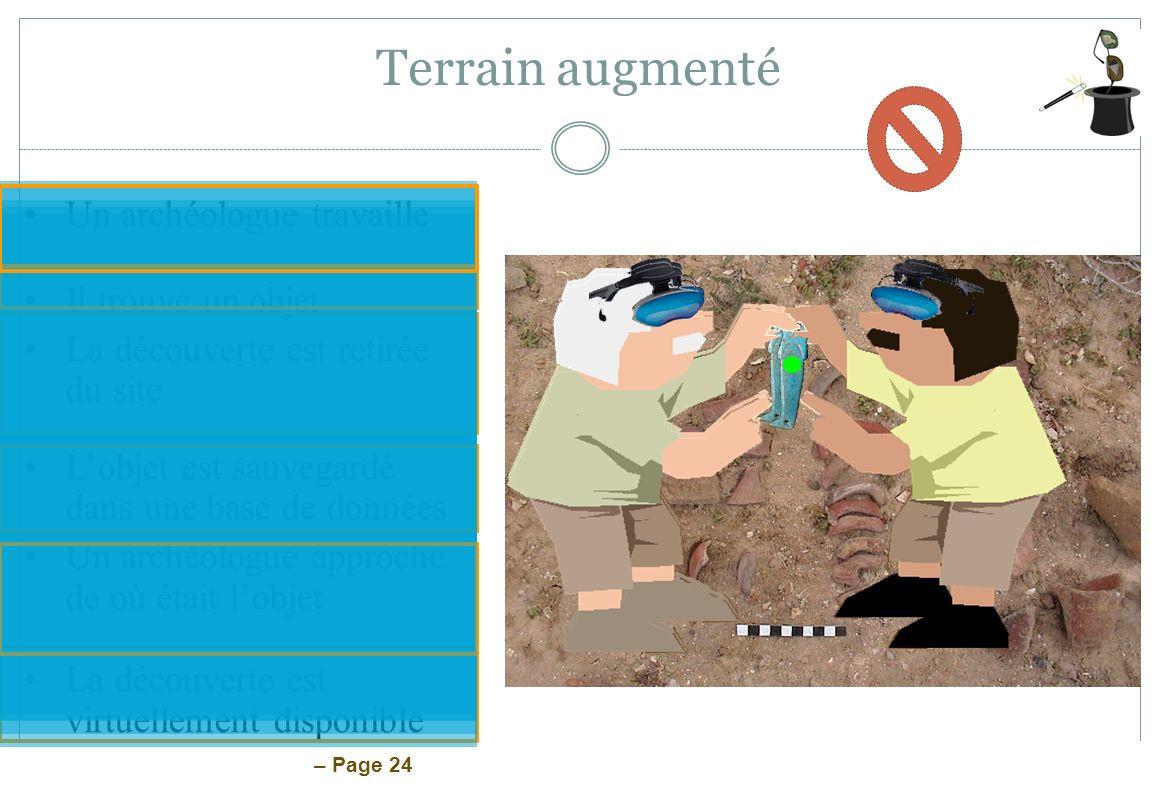 – Page 24 Un archéologue travaille Il trouve un objet La découverte est retirée du site Lobjet est sauvegardé dans une base de données Un archéologue