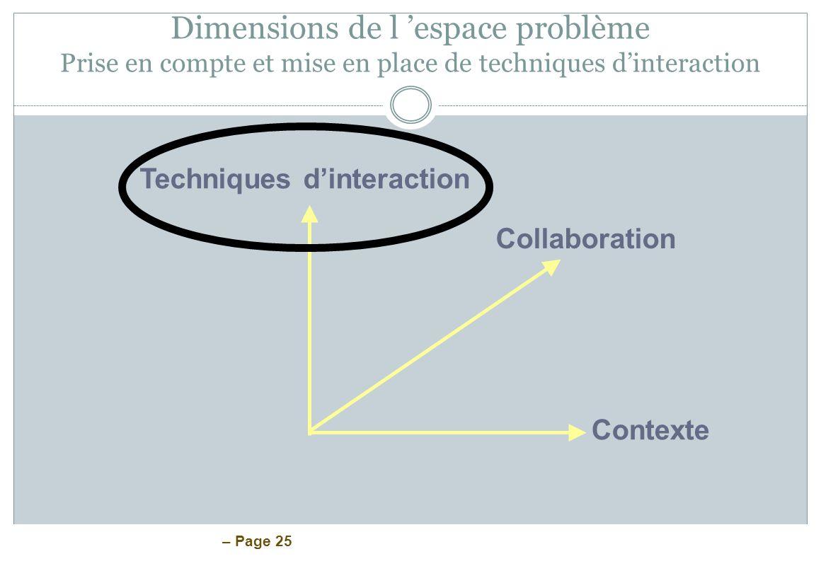 – Page 25 Dimensions de l espace problème Prise en compte et mise en place de techniques dinteraction Techniques dinteraction Collaboration Contexte