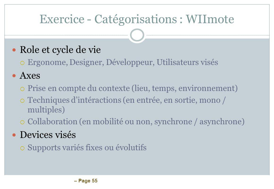 – Page 55 Exercice - Catégorisations : WIImote Role et cycle de vie Ergonome, Designer, Développeur, Utilisateurs visés Axes Prise en compte du contex