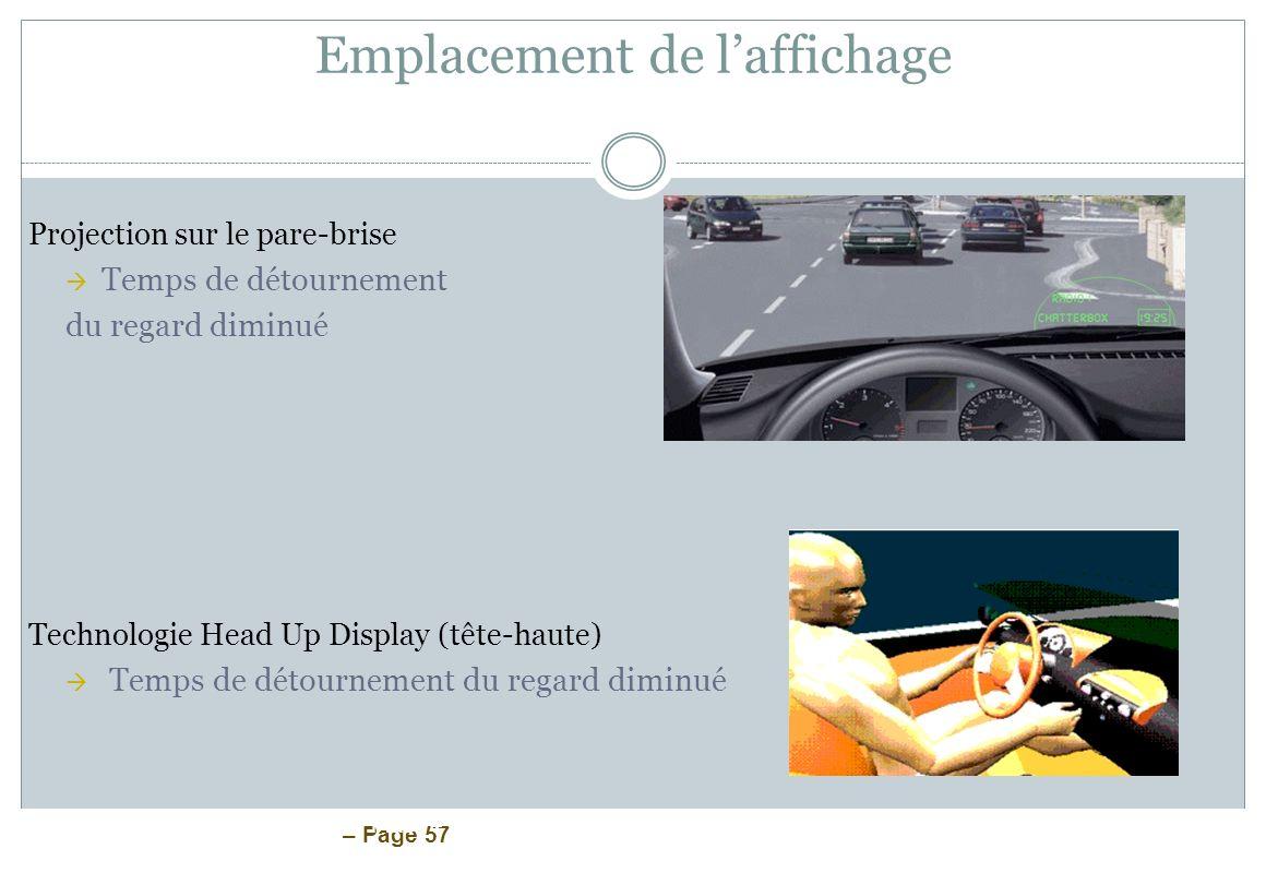 – Page 57 Emplacement de laffichage Projection sur le pare-brise Temps de détournement du regard diminué Technologie Head Up Display (tête-haute) Temp