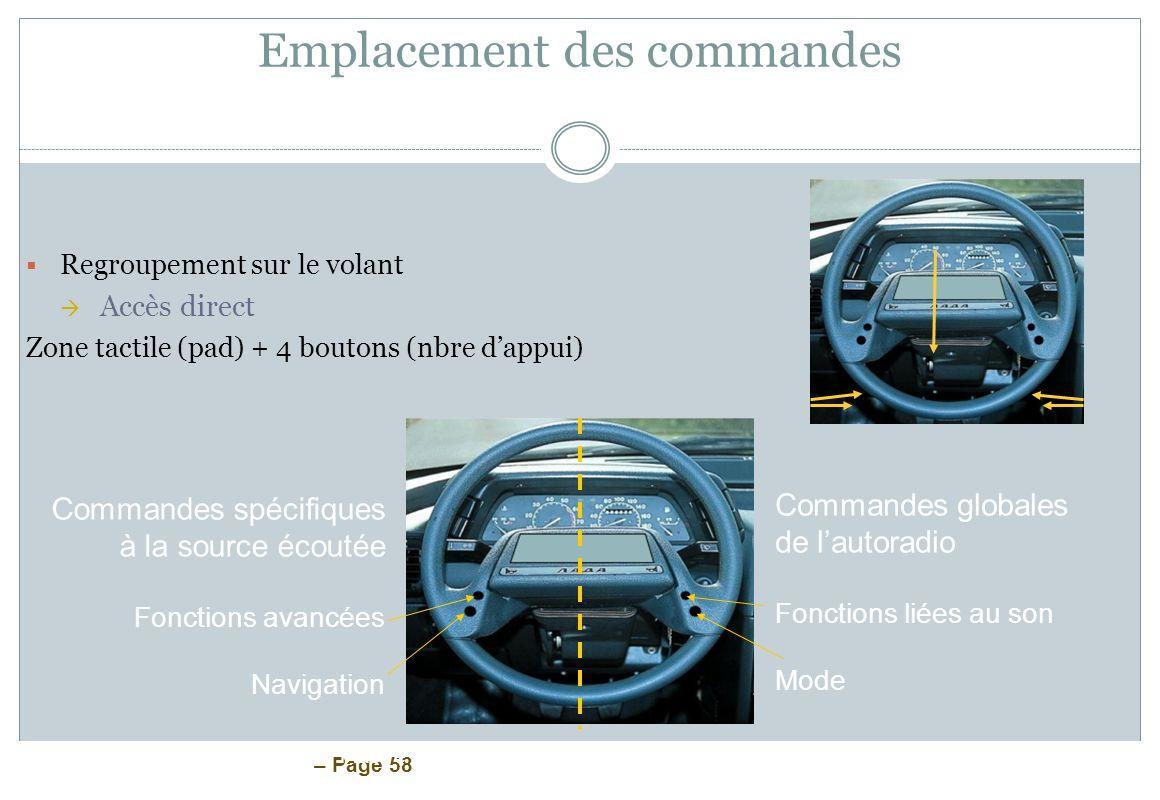 – Page 58 Emplacement des commandes Regroupement sur le volant Accès direct Zone tactile (pad) + 4 boutons (nbre dappui) ESSI 3 Claire Fiastre – Jean